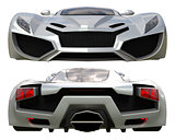 A set of two types of racing concept car in gray. Front and rear view. 3d illustration.