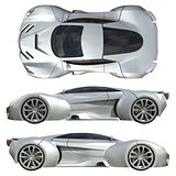 A set of three types of racing concept car in gray. Side view and top view. 3d illustration.