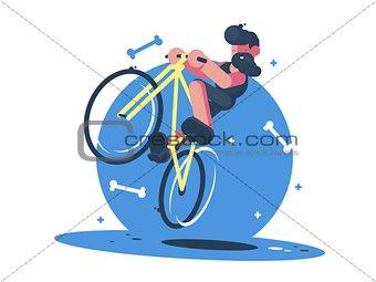 Active dude rides bicycle