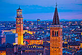 Verona towers and rooftops evening view