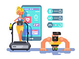 Ffitness app man and woman working out