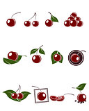Cherry icons set