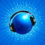 New 3D blue disco ball with headphone on star burst