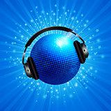New 3D blue disco ball with headphone on star burst
