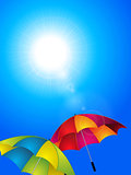 Sunny blue sky and umbrella background