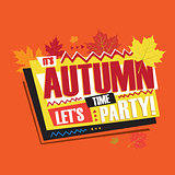 Autumn abstract vintage retro banner sign