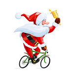 Santa claus with bell at bicycle. Christmas cartoon character.