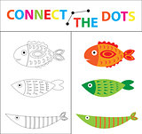 Children's educational game for motor skills. Connect the dots picture. For children of preschool age. Circle on the dotted line and paint. Coloring page. Vector illustration.