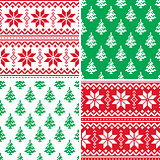 Christmas pattern cross stitch collection, Winter seamless design set, ugly Xmas jumper style