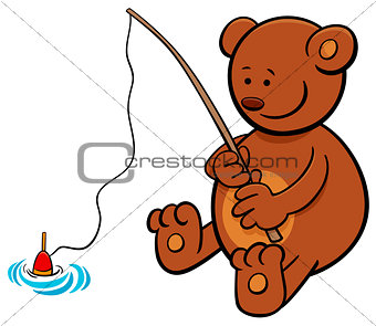 bear on fishing cartoon illustration