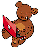 bear with notebook cartoon illustration