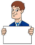 cartoon businessman with board