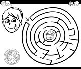 maze with boy and cake for coloring