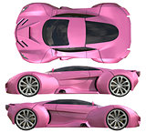 A set of three types of racing concept car in pink. Side view and top view. 3d illustration.