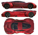 A set of three types of racing concept car in red. Side view and top view. 3d illustration.