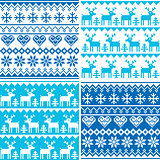 Winter pattern cross stitch collection, Winter seamless design set, ugly Xmas jumper style