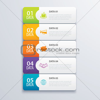 5 infographic tab index banner design vector and marketing templ