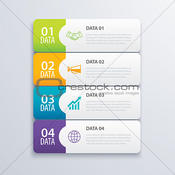 4 infographic tab index banner design vector and marketing templ