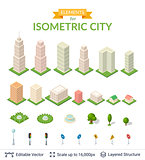 Isometric city icon set.
