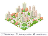 Isometric city popular structures.