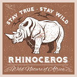 Vector Stylized Rhino in Vintage Style for Logotype, Label, Badge, T-shirts and other Design.