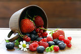 Various berries - strawberries, currants, raspberries, blueberries