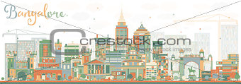 Abstract Bangalore Skyline with Color Buildings.