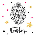 Happy Easter Lettering with Egg and Golden Stars.