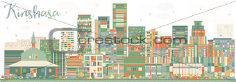 Abstract Kinshasa Skyline with Color Buildings.