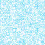 Line House White Seamless Pattern