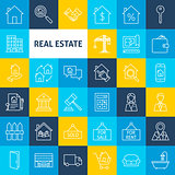 Vector Line Real Estate Icons