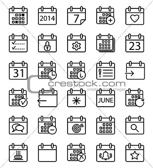 Calendar stroke icons set.