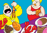 funny buffet party pig out cartoon