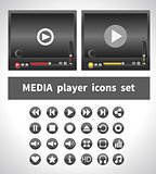 Media players on white background
