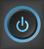 Black vector plastic power button with blue light