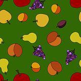 hand drawn vector fruit seamless pattern
