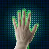 AI hand reaches towards a human hand, Virtual reality projection