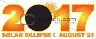 2017 Solar Eclipse Numeral Text Illustration