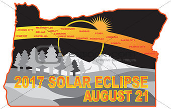 2017 Solar Eclipse Across Oregon Cities Map Illustration
