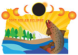 2017 Solar Eclipse Across Oregon Map Illustration