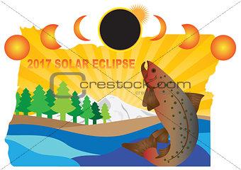 2017 Solar Eclipse Across Oregon Map Illustration