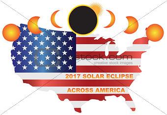 2017 Solar Eclipse Across USA Map Illustration