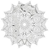 Mandala with letter C for coloring. Vector decorative zentangle