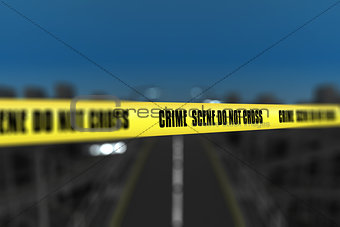 3D police line tape against defocussed city background