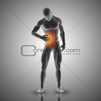 3D male figure holding stomach in pain