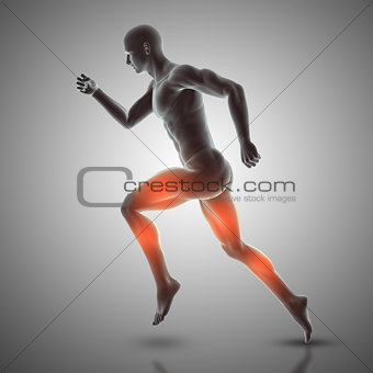 3D male figure in running pose