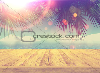 3D retro styled image of a wooden deck looking out to a tropical