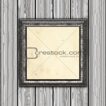 3D vintage frame on wooden background