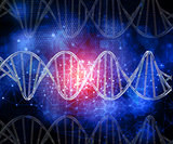 3D DNA strands on a technology abstract background