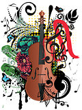 Grunge Violin Illustration